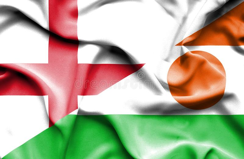 Machać flagę Niger i Anglia zdjęcie stock