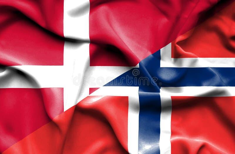 Machać flagę Norwegia i Dani ilustracji