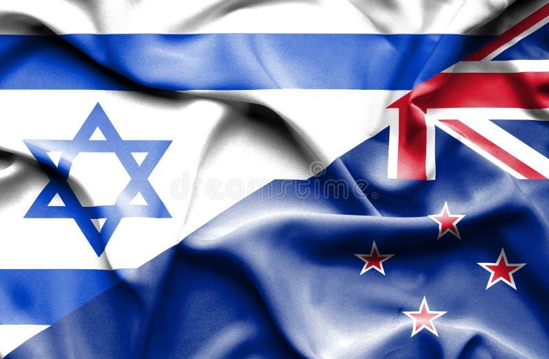 Machać flagę Nowa Zelandia i Izrael ilustracji
