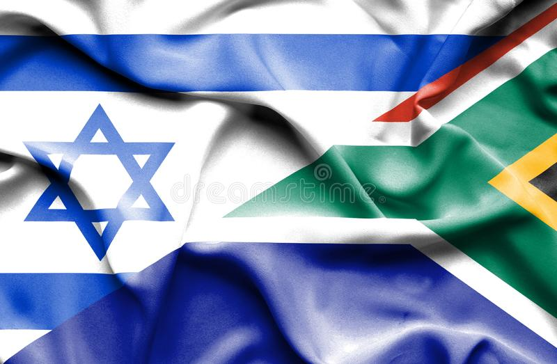 Machać flagę Południowa Afryka i Izrael royalty ilustracja