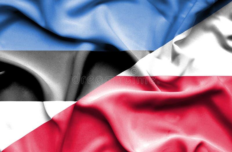 Machać flagę Polska i Estonia zdjęcia stock