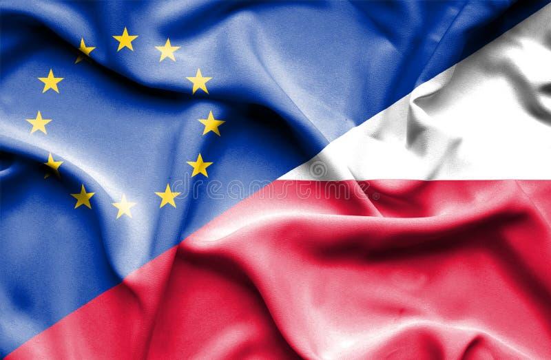 Machać flagę Polska i UE obrazy stock