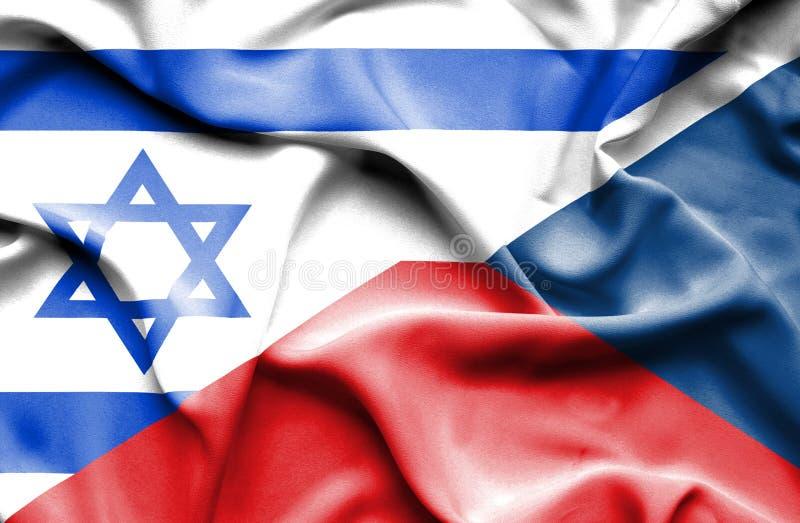 Machać flagę republika czech i Izrael ilustracja wektor