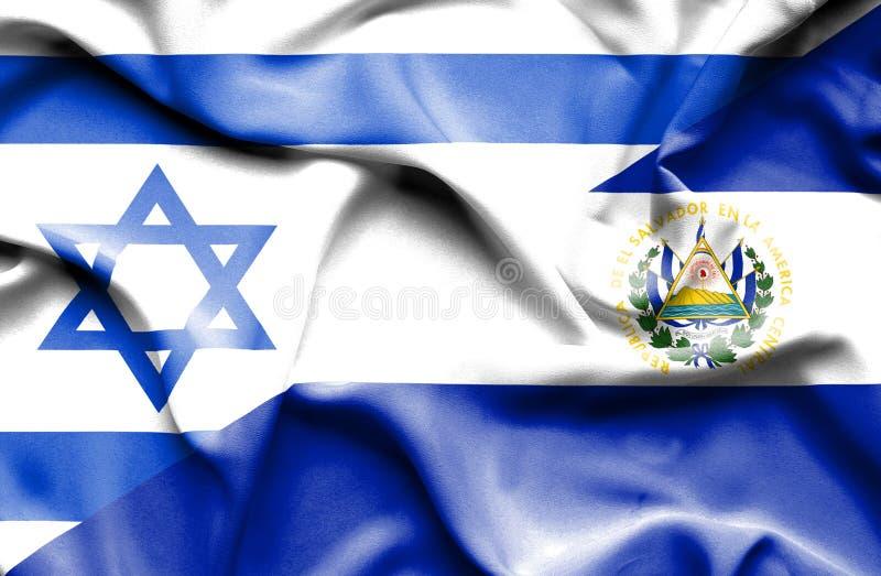 Machać flagę Salwador i Izrael ilustracja wektor