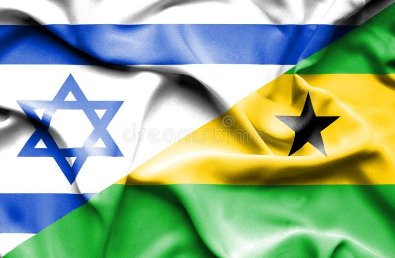 Machać flagę Sao wolumin, Principe i Izrael ilustracja wektor