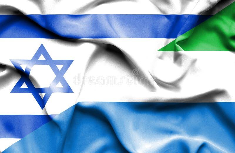 Machać flagę Sierra Leone i Izrael ilustracja wektor