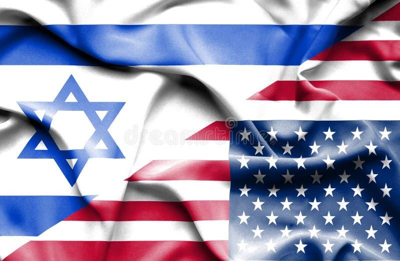 Machać flagę Stany Zjednoczone Ameryka i Izrael ilustracja wektor