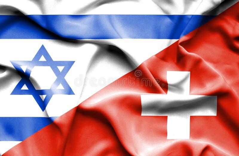Machać flagę Szwajcaria i Izrael royalty ilustracja