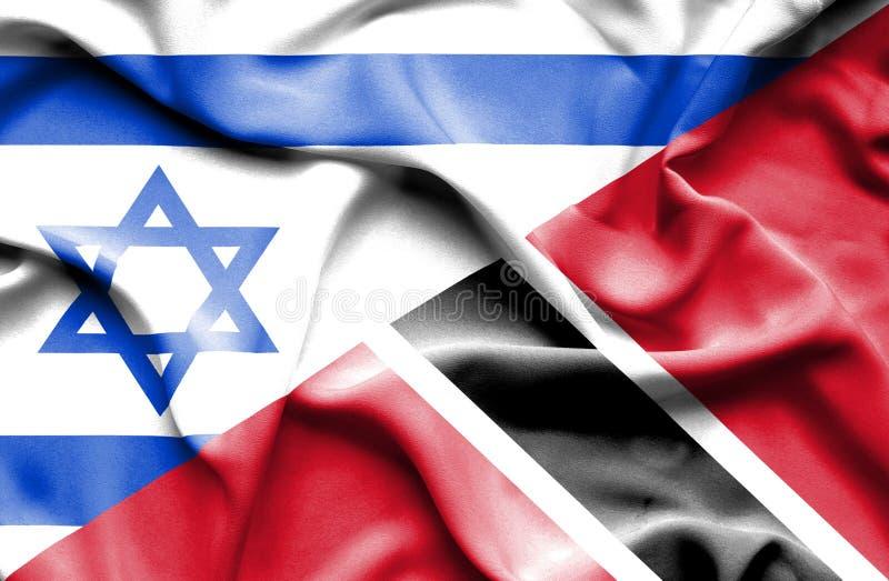 Machać flagę Trinidad, Tobago i Izrael ilustracji