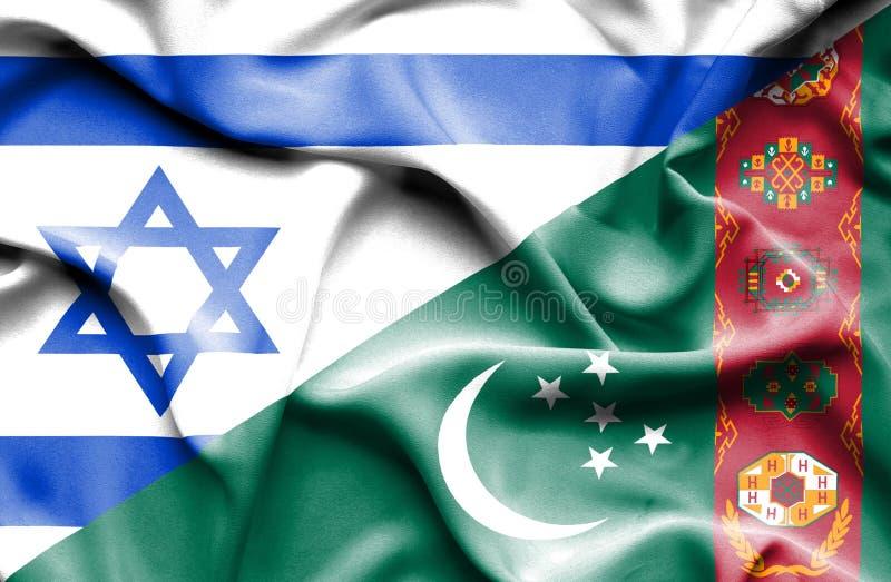 Machać flagę Turkmenistan i Izrael ilustracja wektor