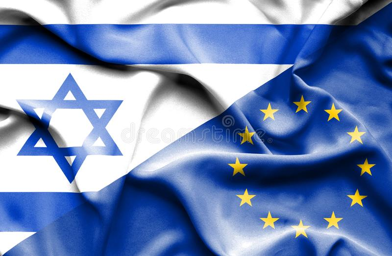 Machać flagę unia europejska i Izrael ilustracja wektor