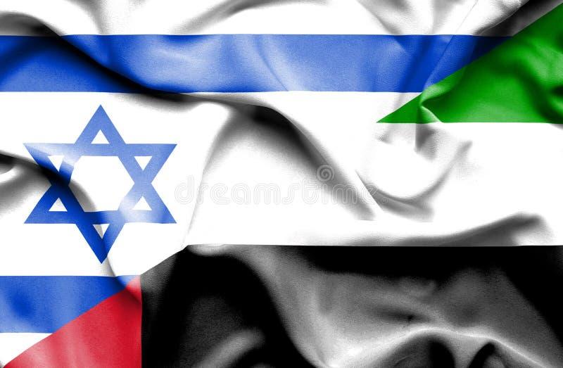 Machać flagę Zjednoczone Emiraty Arabskie i Izrael ilustracji