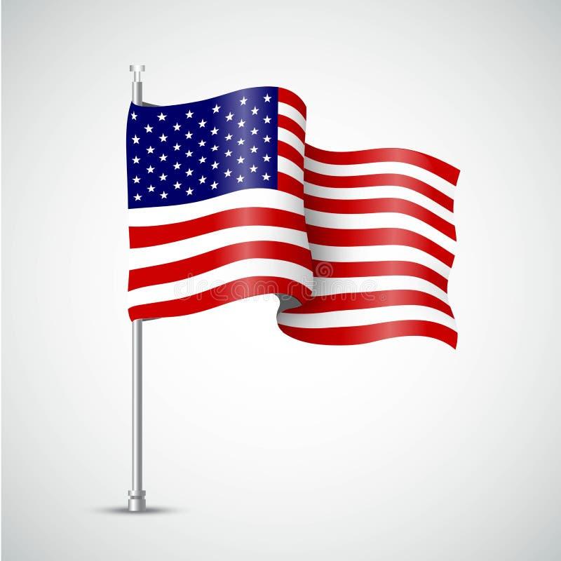 Machać flaga usa również zwrócić corel ilustracji wektora royalty ilustracja