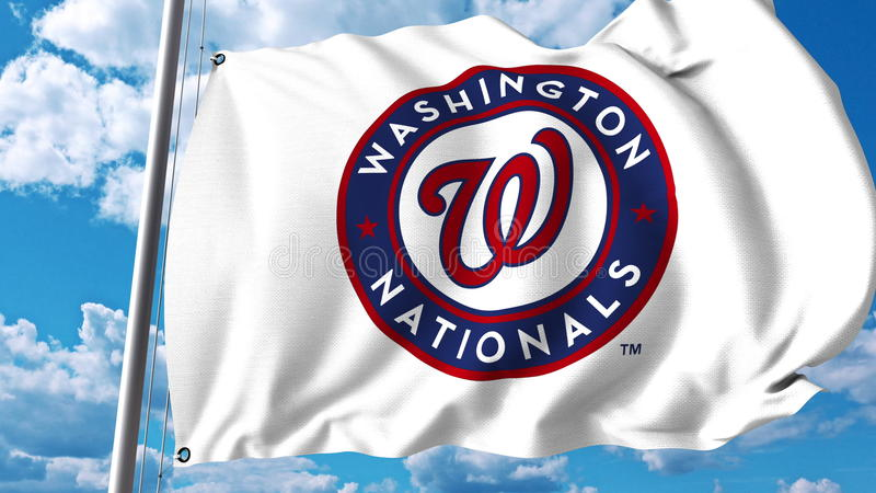 Machać flaga z washington nationals profesjonalisty drużyny logem Redakcyjny 3D rendering royalty ilustracja