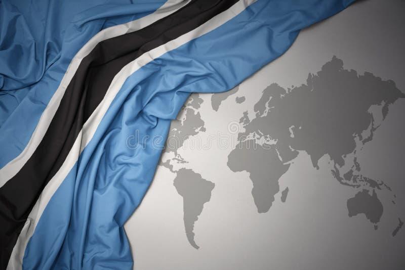 Machać kolorową flaga państowowa Botswana