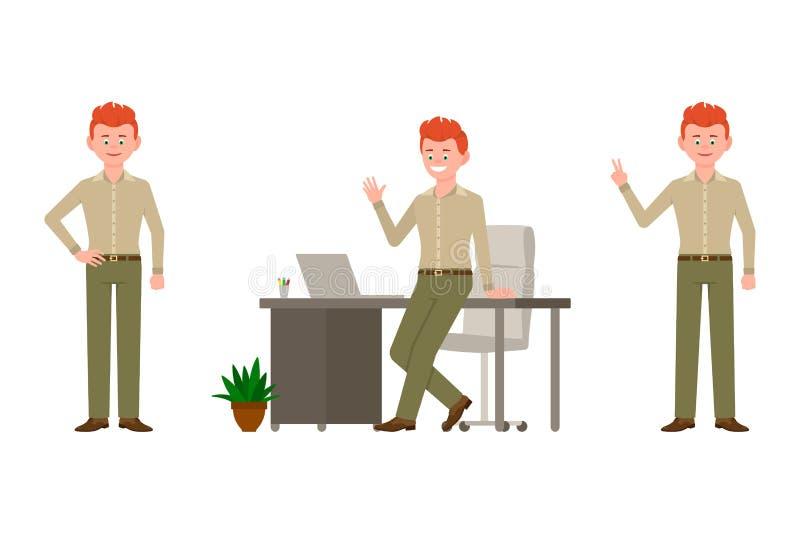 Machać, mówić cześć, zwycięstwo znak, stoi blisko biurko charakteru chłopiec ilustracji