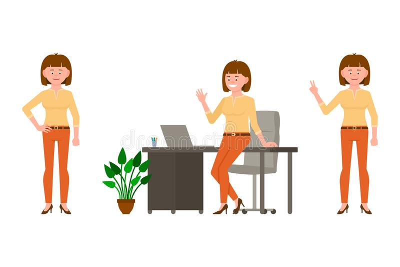 Machać, mówić cześć, zwycięstwo znak, stoi blisko biurko dziewczyny charakteru Śliczny, ono uśmiecha się, szczęśliwego brązu kobi ilustracji