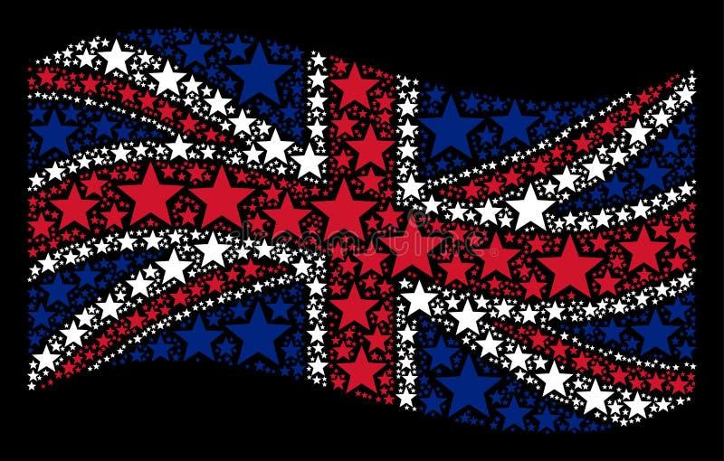 Machać UK Chorągwianego kolaż pięcioramienne Gwiazdowe ikony ilustracja wektor