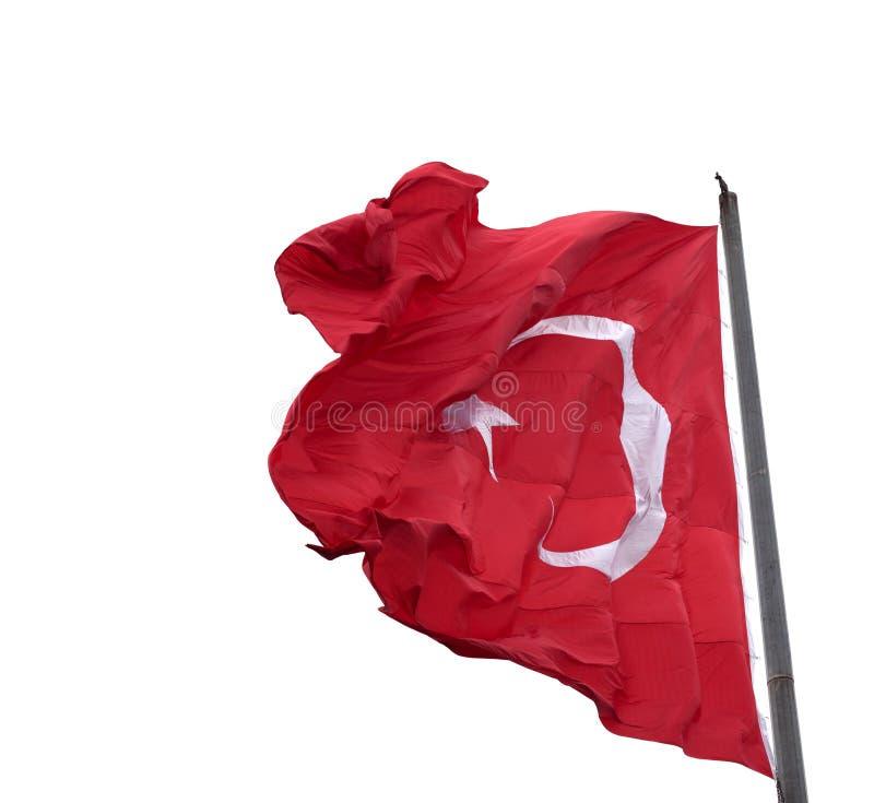 Machać w wiatr flaga Turcja na flagpole fotografia stock