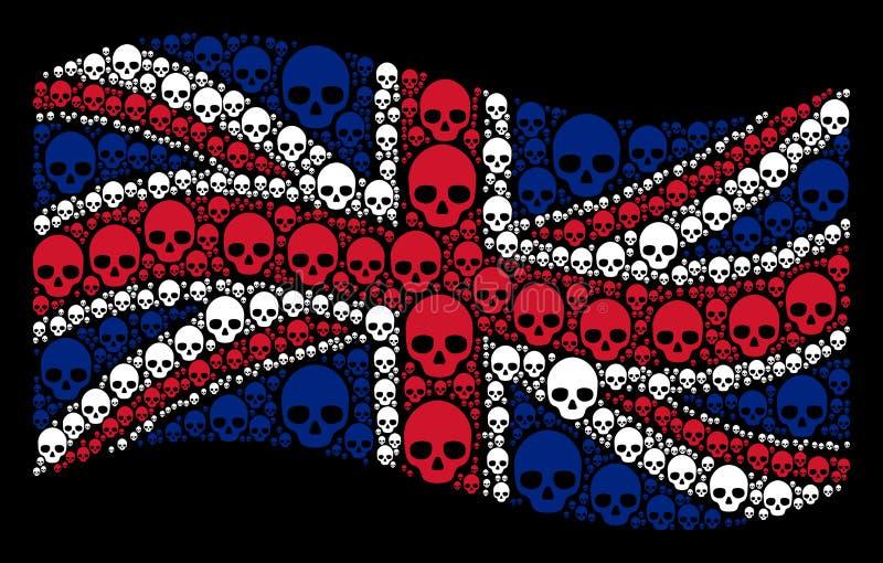 Machać Wielką Brytania flaga mozaikę czaszek rzeczy ilustracji