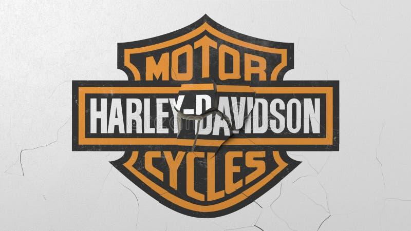 Machacamiento del muro de cemento con el logotipo de Harley-Davidson Representación editorial conceptual 3D de la crisis ilustración del vector