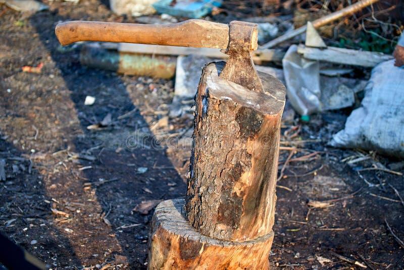 Machado da ferramenta do Woodworking no coto para cortar árvores e lenha imagem de stock