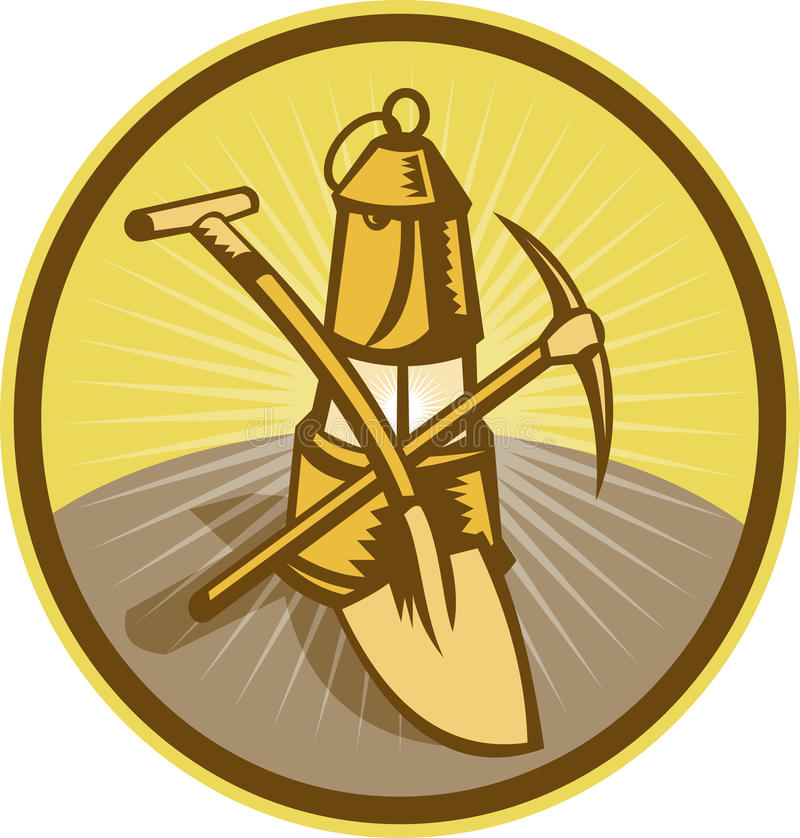 Machado da pá da lâmpada de mineiro da mineração ilustração do vetor