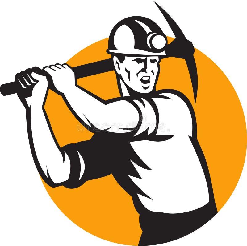 Machado da picareta do funcionamento do mineiro de carvão retro ilustração stock