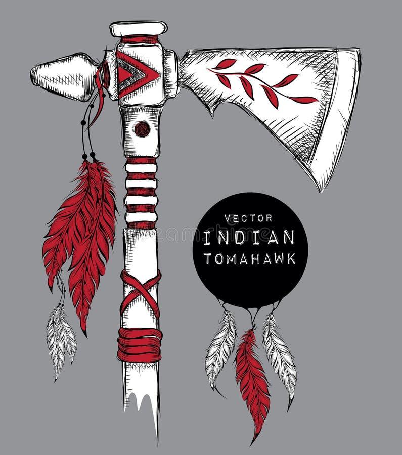 Machado de guerra indiano nativo Arma indiana Ilustração do vetor da tração da mão ilustração stock