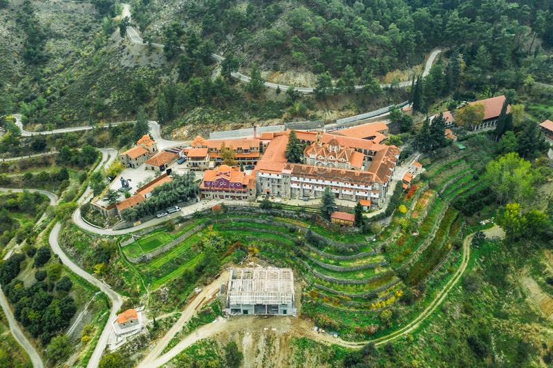 Machairas Monastery dedicated to Virgin Mary located about 40 km from capital of Cyprus, Nicosia. Aerial view from drone. Of ancient historic building in stock photography
