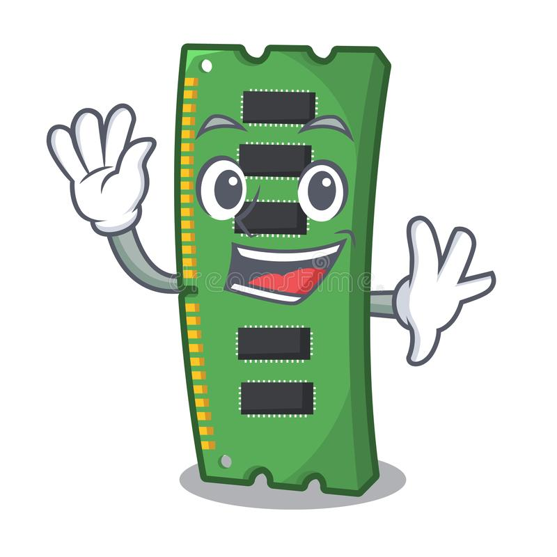Machający RAM kartę pamięci maskotka kształt ilustracja wektor