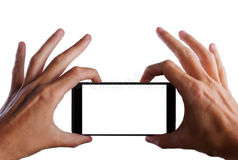 Machen des Fotos mit Mobil-, intelligentem Telefon mit Beschneidungspfad für den Schirm lizenzfreie stockfotos