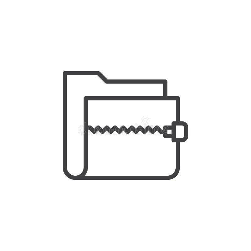 Machen Sie Archivordnerlinie Ikone, Entwurfsvektorzeichen, das lineare Artpiktogramm reißverschluss zu, das auf Weiß lokalisiert  lizenzfreie abbildung