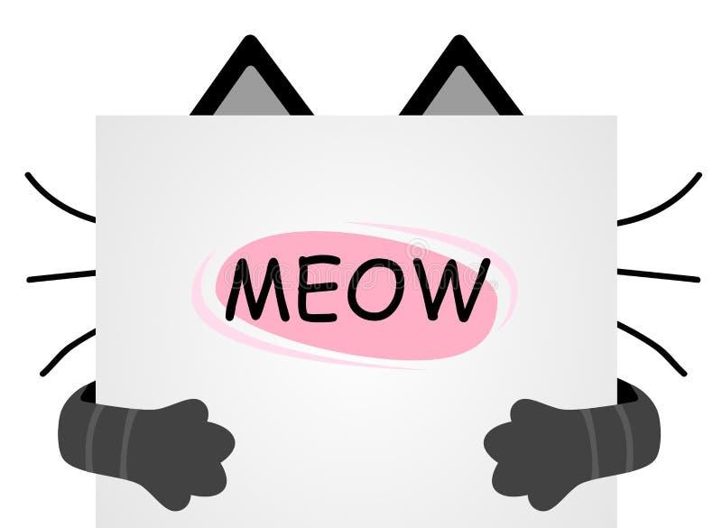 Machen Sie die Katzen mundtot, die für ein Blatt Papier versteckt werden Geschrieben auf das Papier - ICH vektor abbildung