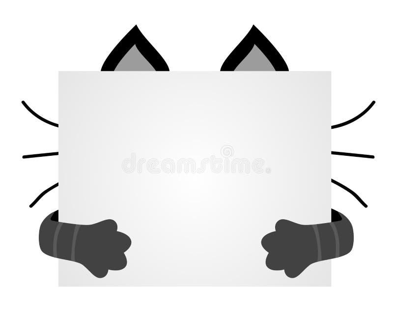 Machen Sie die Katzen mundtot, die für ein Blatt Papier versteckt werden Leerer Raum für Text auf Th lizenzfreie abbildung
