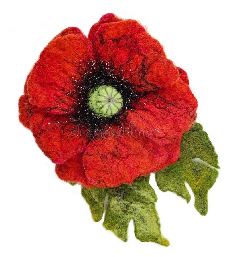 Machen Sie felted Brosche Mohnblumen-Blumenform nass lizenzfreie stockbilder