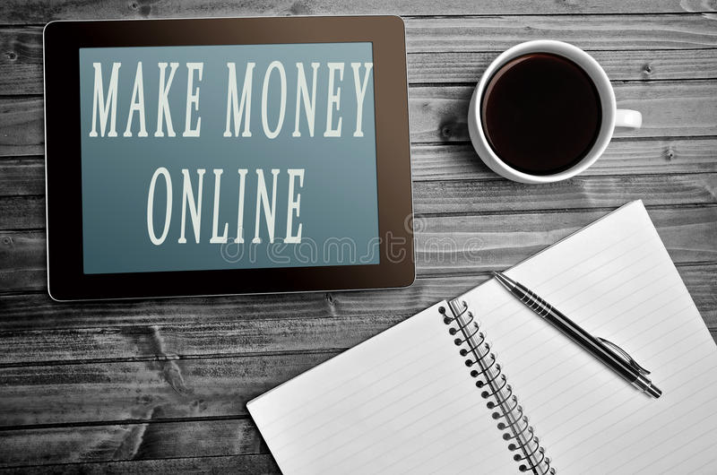 Machen Sie Geld on-line-Wörter stockbild