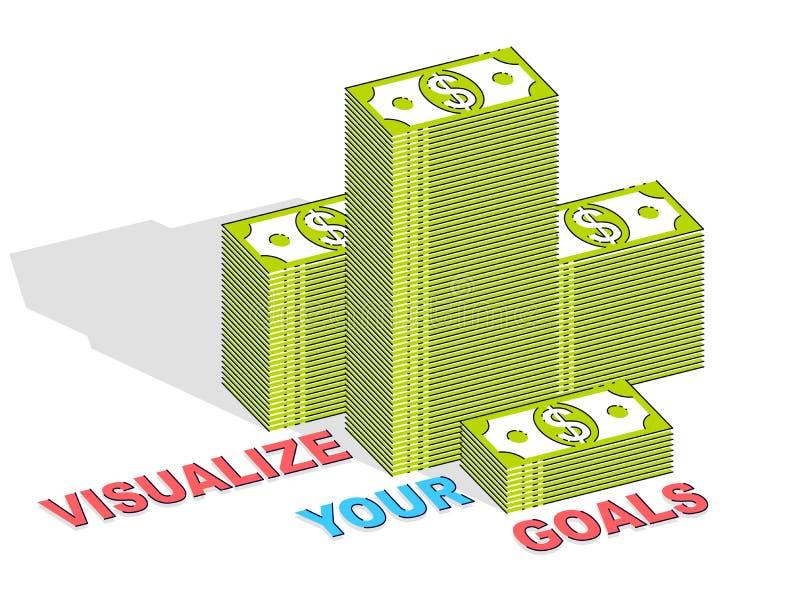 Machen Sie Ihr Zielgeschäfts-Motivationsplakat oder Fahne, Bargeld sichtbar lizenzfreie abbildung