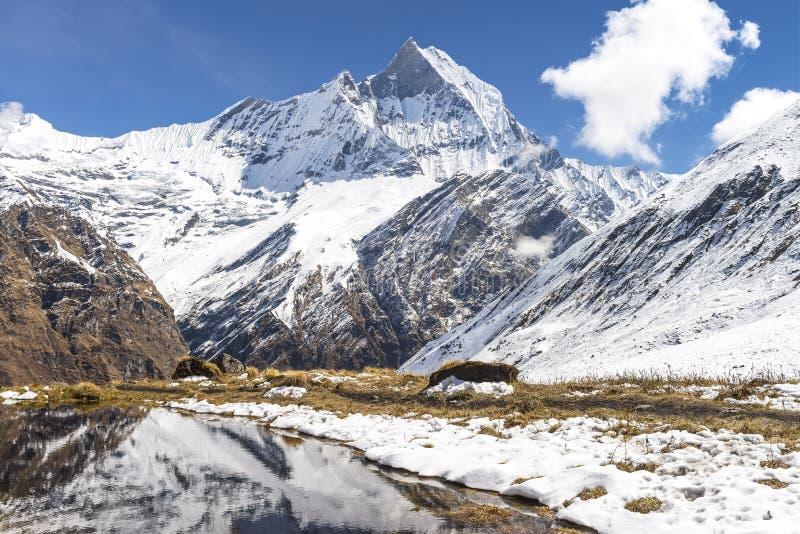 Machhapuchchhre营地博克拉尼泊尔/登上Machhapuchchhre 免版税库存图片