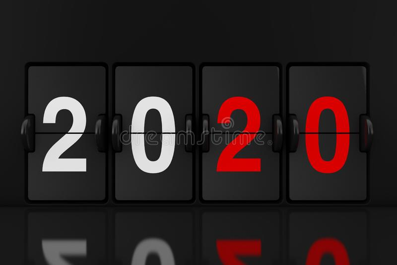 Machinalna Analogowa trzepnięcie zegaru deska z 2020 nowy rok znakiem świadczenia 3 d ilustracja wektor