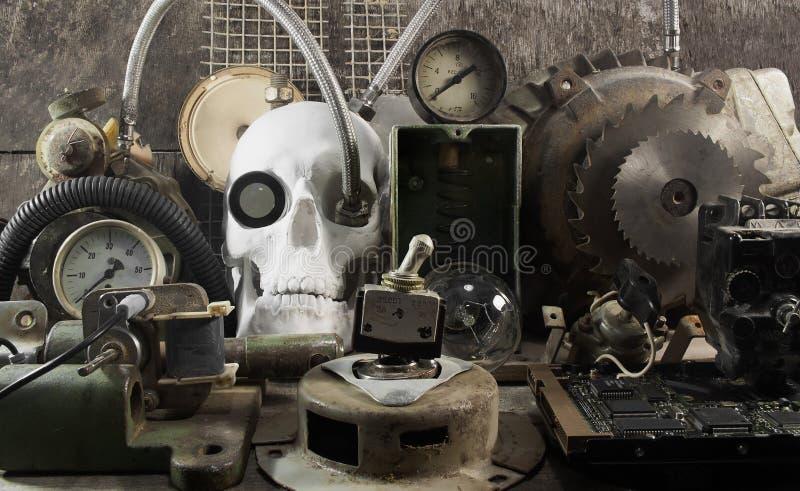 Machinalna czaszka i części obraz stock