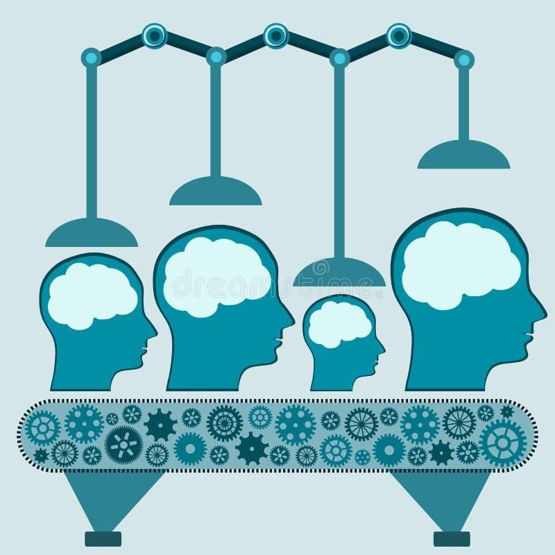 Machinalna maszyna obchodzi się ludzkiego mózg ilustracja wektor