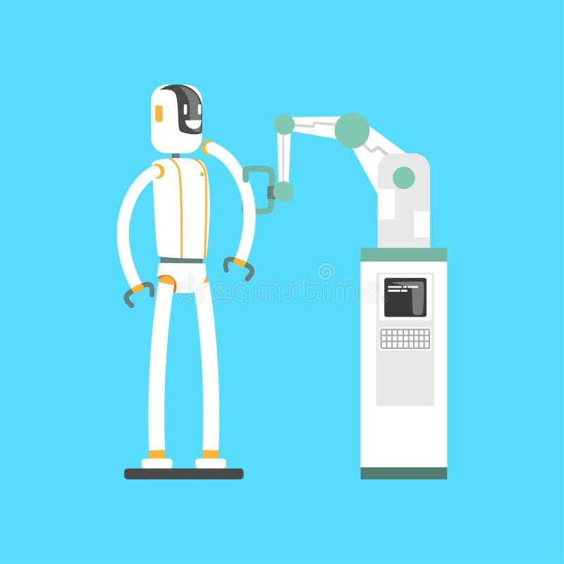 Machinalna ręka i robot, mechaniczna ręka pracuje w lab kreskówki wektoru ilustraci royalty ilustracja