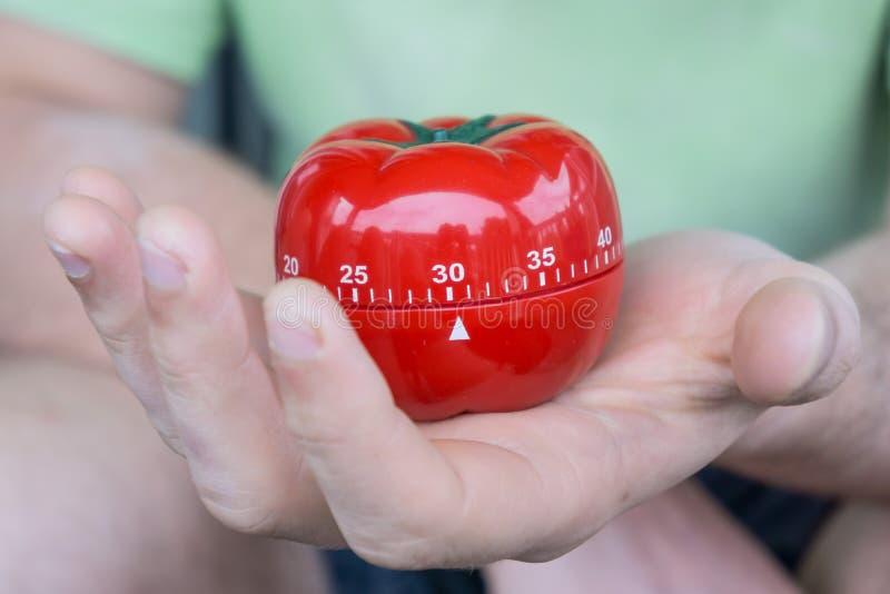 Machinalny czerwony pomidorowy kuchenny zegar ustawiający 30 jeden otwartą ręką, trzymający zdjęcia stock
