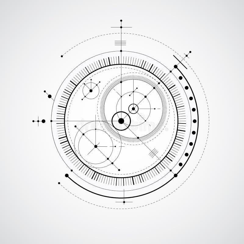 Machinalny plan, czarny i biały wektorowi inżynieria rysunku wi royalty ilustracja