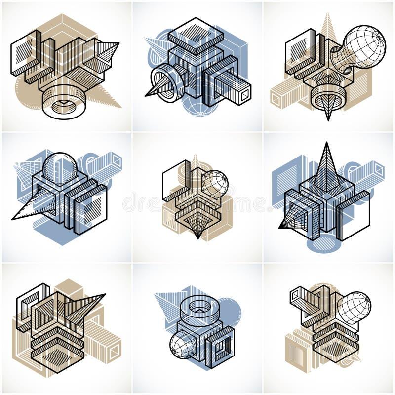 Machinant des formes géométriques abstraites, vecteurs simples réglés illustration libre de droits