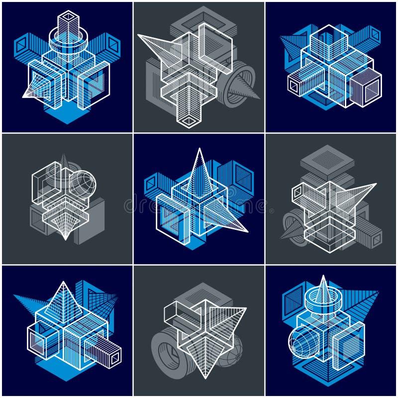 Machinant des formes géométriques abstraites, vecteurs simples réglés illustration stock