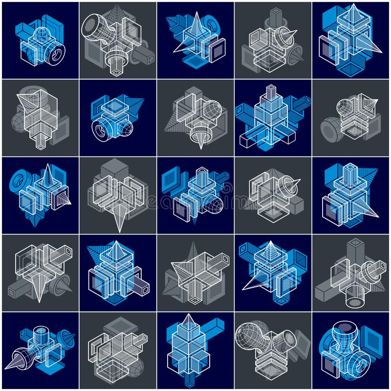 Machinant des formes géométriques abstraites, vecteurs simples réglés illustration de vecteur