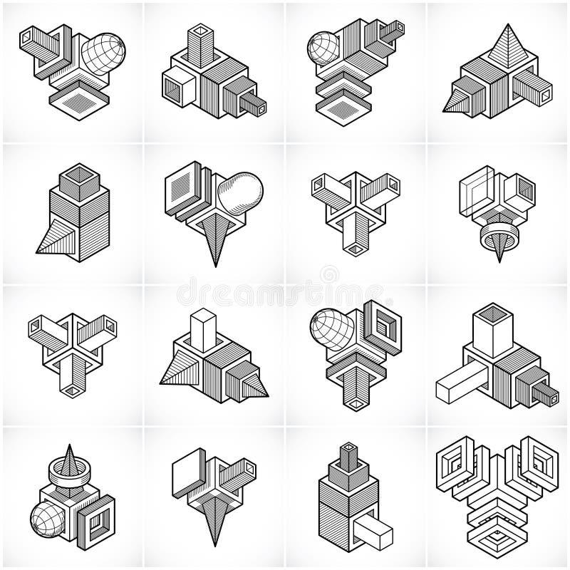 Machinant la forme abstraite, vecteurs réglés illustration stock