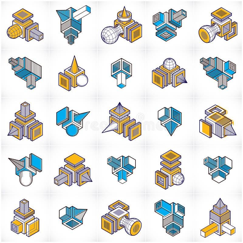 Machinant la forme abstraite, vecteurs réglés illustration libre de droits
